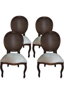 Conjunto 04 Cadeiras De Jantar Medalhão Lisa Sem Braço Com Palha - Tommy Design