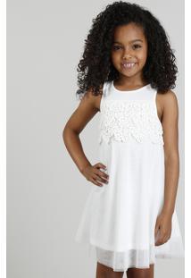 Vestido Infantil Em Tule Com Renda Branco