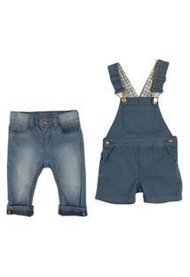 Conjunto Calça Jeans E Jardineira Macacão Mabu Denim Jeans
