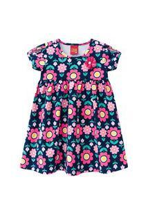 Vestido Infantil - Algodão E Poliéster - Floral - Azul Marinho - Kyly