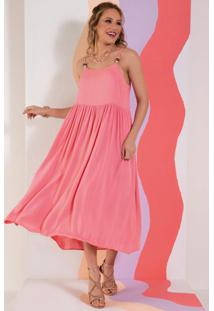 Vestido Rosa Soltinho Com De Alças Com Missangas
