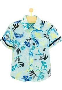 Camisa Infantil Pandi Amarilis Masculina - Masculino-Verde Água