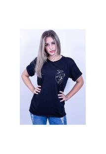 Camiseta Bilhan Corte A Fio Coração Pqn Preta