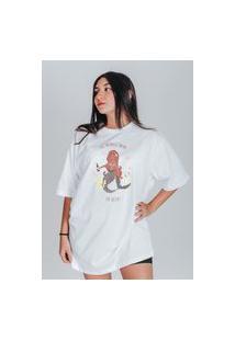 Camiseta Feminina Oversized Boutique Judith This Mermaid Swims In Beer Branco