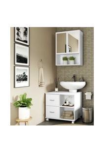 Armário De Banheiro Com Espelho E 2 Portas E Balcáo De Pia Multimóveis Branco