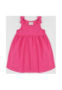 Vestido Infantil Alça Média Com Laço Rosa