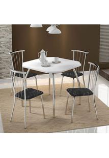Conjunto Mesa 1504 Branca Cromada Com 4 Cadeiras 154 Fantasia Preto Carraro