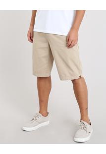 Bermuda De Sarja Masculina Slim Kaki