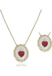 Escapulário Semijoia Sagrados Corações Resinados Com Cristal - Feminino-Ouro