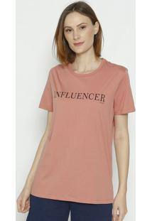 "Camiseta ""Influencer"" - Rosa & Preta - Colccicolcci"