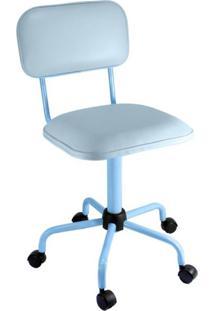 Cadeira De Escritório Secretária Color Fixa Corano Azul Claro