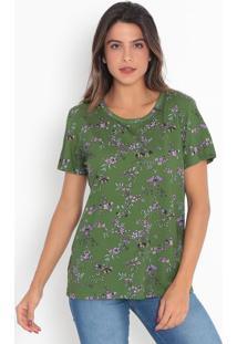 Camiseta Floral- Verde & Roxa- Colccicolcci
