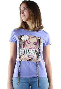 T-Shirt Multi Ponto Denim Estampada Cover Roxo
