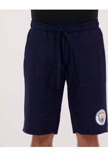 Bermuda Moletom Manchester City Marinho