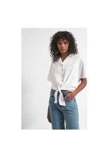 Camisa Manga Curta Com Amarração Na Frente E Elástico Nas Costas | Marfinno | Branco | Gg