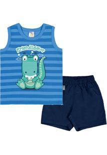 Conjunto Royal Bebê Menino Meia Malha 36163-140 - Masculino-Azul