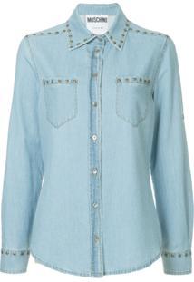 3eacfadcb0 Moschino Camisa Jeans Com Tachas - Azul