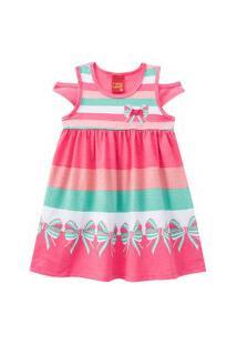 Vestido Infantil - Meia Malha - Listras Com Laço - Rosa - Kyly