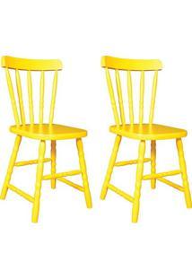 Conjunto 2 Cadeiras De Cozinha Dalas Amarela - Única