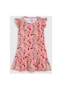 Vestido Abrange Infantil Lettering Vermelho