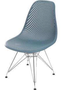 Cadeira Eames Furadinha Cor Azul Petroleo Com Base Cromada - 55992 - Sun House