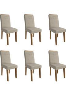 Conjunto Com 6 Cadeiras De Jantar Taís I Suede Savana E Bege