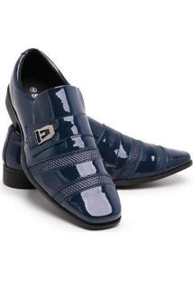 Sapato Social Verniz 703 Elástico Dia A Dia Schiareli Masculino - Masculino-Azul