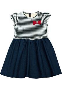 Vestido Infantil - Manga Curta - Listra Com Lacinho - Algodão E Elastano - Marinho - Duduka - 1