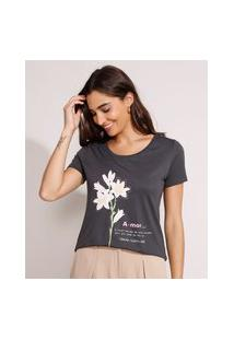 """Camiseta Flores """"Amor"""" Manga Curta Decote Redondo Chumbo"""