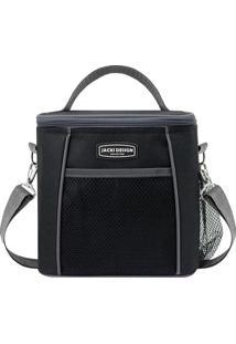 Bolsa Térmica- Preta & Cinza Escuro- 21X19X15Cm-Jacki Design