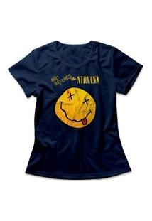 Camiseta Feminina Nirvana Who Watches Azul Marinho