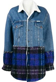 Forte Dei Marmi Couture Plaid Panel Denim Coat - Azul