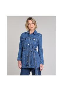 Jaqueta Jeans Feminina Alongada Com Cinto Azul Médio