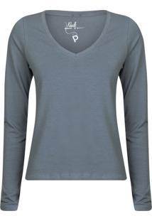 Camisetas Khelf Camiseta Feminina Manga Longa Azul