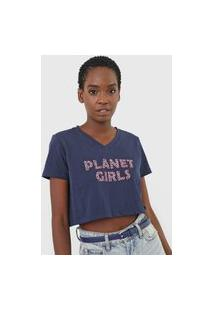 Camiseta Cropped Planet Girls Logo Animal Print Azul-Marinho