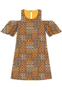 Vestido Recorte Ombros Estampa Kilims - Lez A Lez