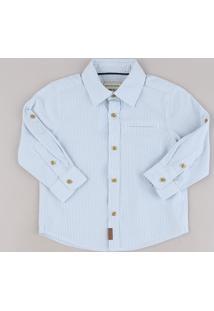 Camisa Infantil Listrada Com Bolso E Martingale Manga Longa Azul Claro