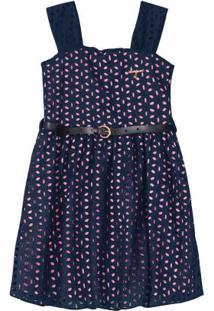 Vestido Azul Marinho Em Laíse Bordado