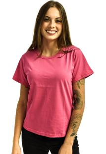 Camiseta Rich Young Baby Look Básica Lisa Malha Rosa Pink