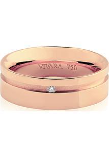 Aliança De Casamento Ouro Rosé E Diamante