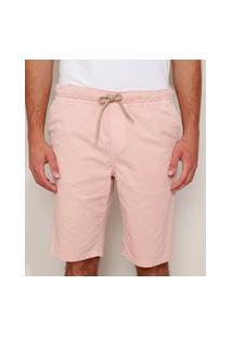 Bermuda De Sarja Masculina Slim Com Bolsos E Cordões Rosa