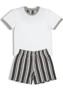 Conj. Pijama Cotton Curto Infantil Branco G