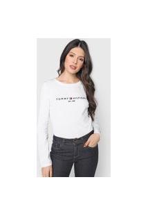 Camiseta Tommy Hilfiger Logo Bordado Branca