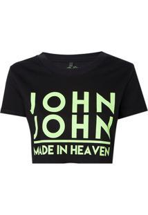Camiseta John John Jj Logo Neon Malha Preto Feminina (Preto, M)
