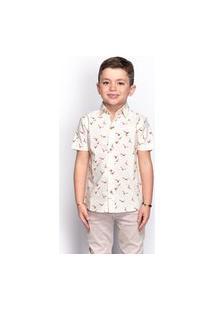 Camisa Social Infantil Menino Estampada Manga Longa Casual