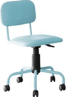 Cadeira De Escritório Secretária Giratória Color Pistão A Gás Corano Azul Claro