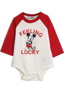 Body Gap Infantil Mickey Off-White/Vermelho
