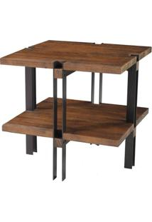Mesa Lateral Toronto Cor Rustic Brown Com Base Grafite 54 Cm (Alt) - 50326 - Sun House