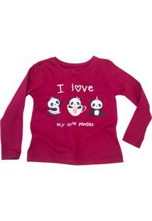 Camiseta I Love My Cute Pandas Manga Longa Tomate