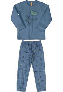 Pijama Infantil Dino Microsoft Azul